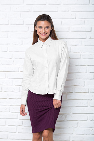 Рубашка женская приталенная с длинным рукавом модель POPLIN